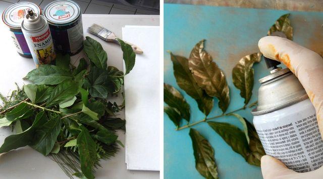 Cuadros hojas pintadas con spray
