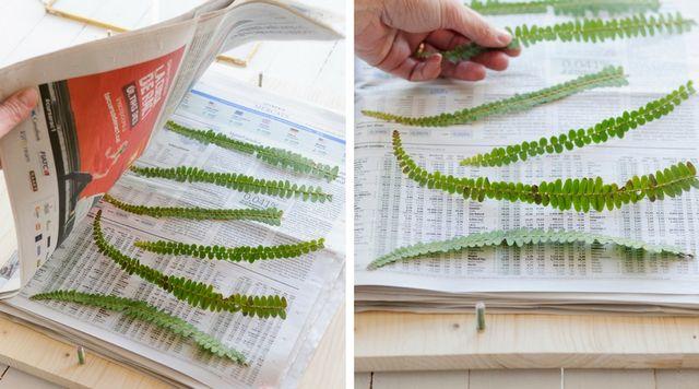 Decorar cuadros con hojas verdes