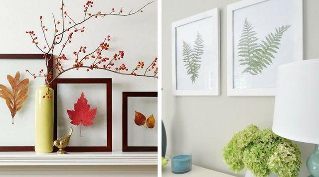 Decorar casa con cuadros con hojas